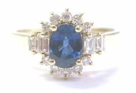 Fine Gem Blue Sapphire Diamond Solitaire With Accent Yellow Gold Ring 1.... - $1,336.50