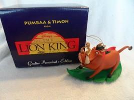 Disney Grolier President's Edition PUMBAA & TIMON Christmas Ornament w/Box  - $14.00