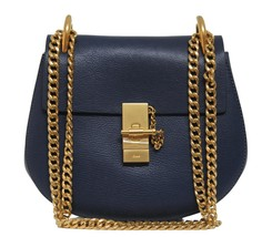 New Chloe Drew Small Denim Blue Goat Leather Gold Chain Bag - $1,566.04