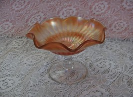 Vintage Peach Apricot Carnival Glass Compote Candy Nut Dish Ruffled Edge... - $44.55