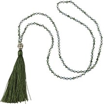 KELITCH Long Hand Knotted Crystal Beaded Buddha Tassel Necklaces, Olive ... - $18.20