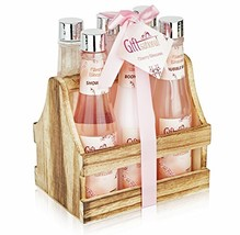 Spa Gift Basket with Cherry Blossom Fragrance, Wooden Cabinet with 6 Bot... - $29.06