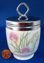 Mid Century King Egg Coddler Herbs Spices Mid Century Porcelain Chives 1960s - $24.00