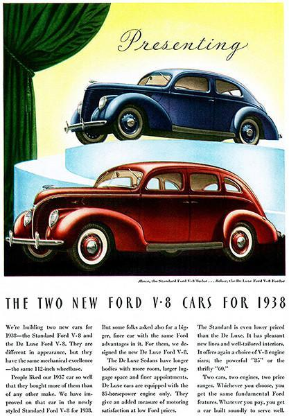 Primary image for 1938 Ford V-8 - Two New Fords - Promotional Advertising Poster