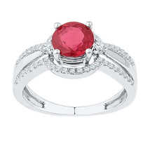 10k White Gold Round Lab-Created Ruby Solitaire Fashion Ring 2-1/12 Ctw - £308.36 GBP