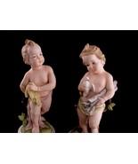 Vintage victorian Cherub statue set - Bisque angel sculpture - peace dov... - $165.00
