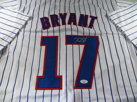 KRIS BRYANT / AUTOGRAPHED CHICAGO CUBS PINSTRIPED CUSTOM BASEBALL JERSEY / COA image 1