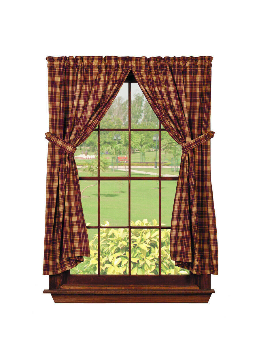 country rustic cabin Heritage Check Wine burgundy tan plaid Panel curtains 72x63 - $58.95