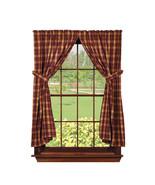 country rustic cabin Heritage Check Wine burgundy tan plaid Panel curtai... - $58.95