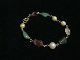 12K Gold-Filled Genuine Gemstones Vintage BRACELET - 7 1/2 inches - $45.00