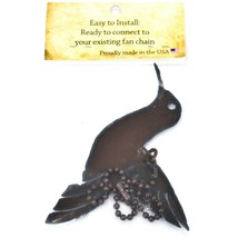 Country Western Rusted Patina Iron Metal Cutout Hummingbird Light Pull Chain image 2