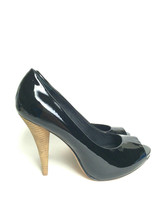 Sz 6 NEW BCBG Maxazria Garret Black Patent Leather Peep Toe Pumps Wood H... - $123.75