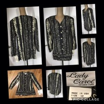 NEW! Lady Carol NY Ladies Tunic Top Size 12 100% Rayon Black & Cream Ret... - $12.86