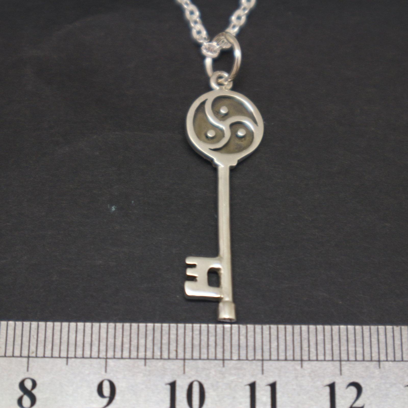 Silver BDSM Key Necklace Pendant image 3