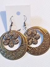 Bronze Filigree Flowers Fashion Hoop Dangle Earrings - $4.99