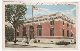 Post Office Crawfordsville Indiana 1923 postcard - $5.94