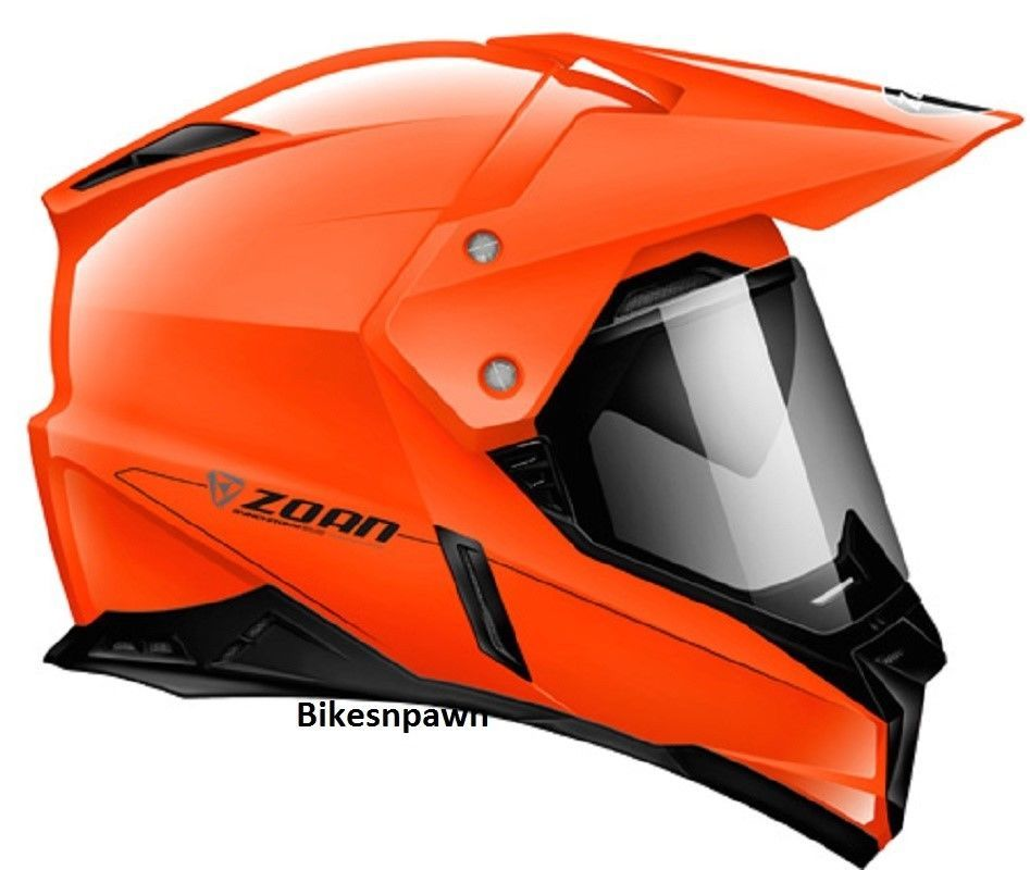 2XL Zoan Synchrony Dual Sport Orange Motorcycle Helmet w/ Sun Shade 521-458