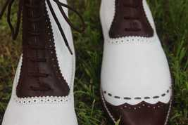Handmade Men's White and Brown Leather High Ankle Lace Up Dress/Formal Leath image 4