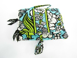Vera Bradley Cosmetic Make Up Bag Organizer Blue Green Floral Travel Fol... - $25.00