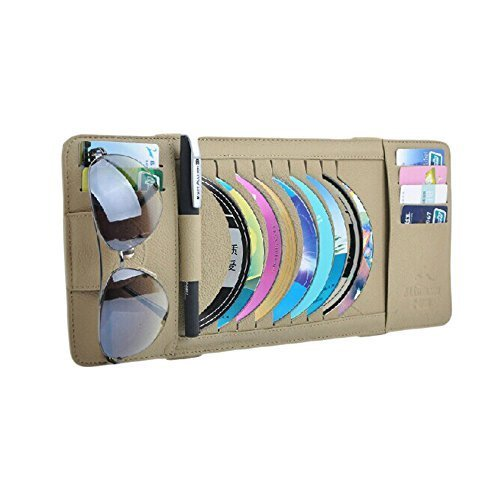 Leather 9 PCS CD DVD Car Auto Visor Organizer Holder Case