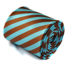 Frederick Thomas Turquoise Blue & Bronze Brown Striped Mens Wedding Tie ... - $18.25