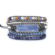 Goldenbleu stone Leather Bracelet Exquisite Mix Stones Women Fashion 5 L... - $34.54