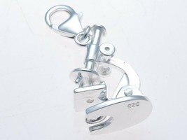 Sterling 925 Solid Silver Microscope Moving Hinged Clip On Charm by Welded Bliss - $31.16