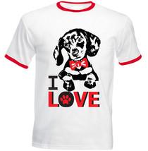 I Love Dachshund 1 - New Red Ringer Cotton Tshirt - $27.44