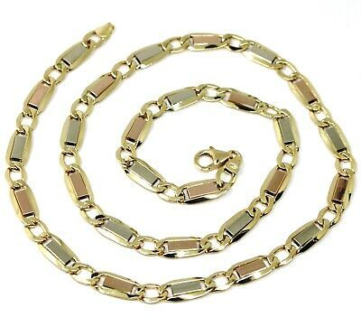 "Primary image for 18K YELLOW WHITE ROSE GOLD CHAIN 6 MM, 24"" SQUARE FLAT ALTERNATE GOURMETTE LINKS"
