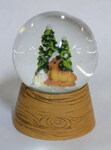 WOODLAND DEER GLASS SNOW GLOBE WATER GLOBE CHRISTMAS HOLIDAY DECOR - $19.88