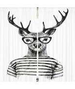 Curtains Black Hipster Deer Print Backdrop 9563 - $38.09