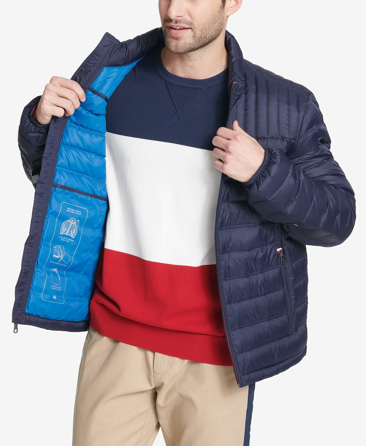Primary image for Tommy Hilfiger Men's Down Quilted Packable Logo Jacket Midnight Navy