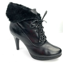 KENNETH COLE 'Mason' Black Leather Fold Over Faux Fur Bootie Heels Size 7 Med - $44.54