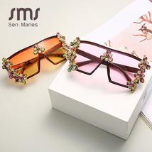 Oversized Colorful Diamond Sunglasses Women Luxury Fashion One Piece Square Sung image 4