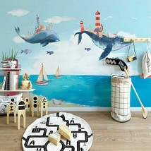 Creative Watercolor Mediterranean Sea Whale Cartoon Kids Murals Wallpape... - $13.43