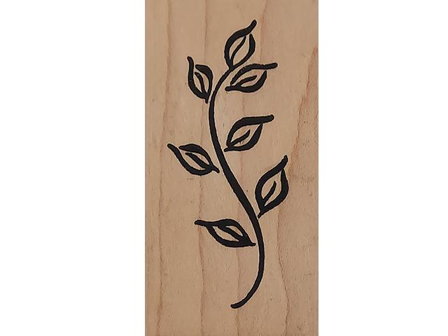 Denami Design 1998 Leaf Stem Wood Mounted Rubber Stamp