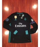 Real Madrid Long Sleeve  Ronaldo Champions League Jersey 17/18 Away Black - $54.00