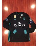 Real Madrid Long Sleeve  Ronaldo Champions League Jersey 17/18 Away Black - $54.00