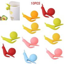 BoNaYuanDa 10 PCS Snail Shape Silicone Cup Mug Tea Bag Holders for Hangi... - £5.42 GBP