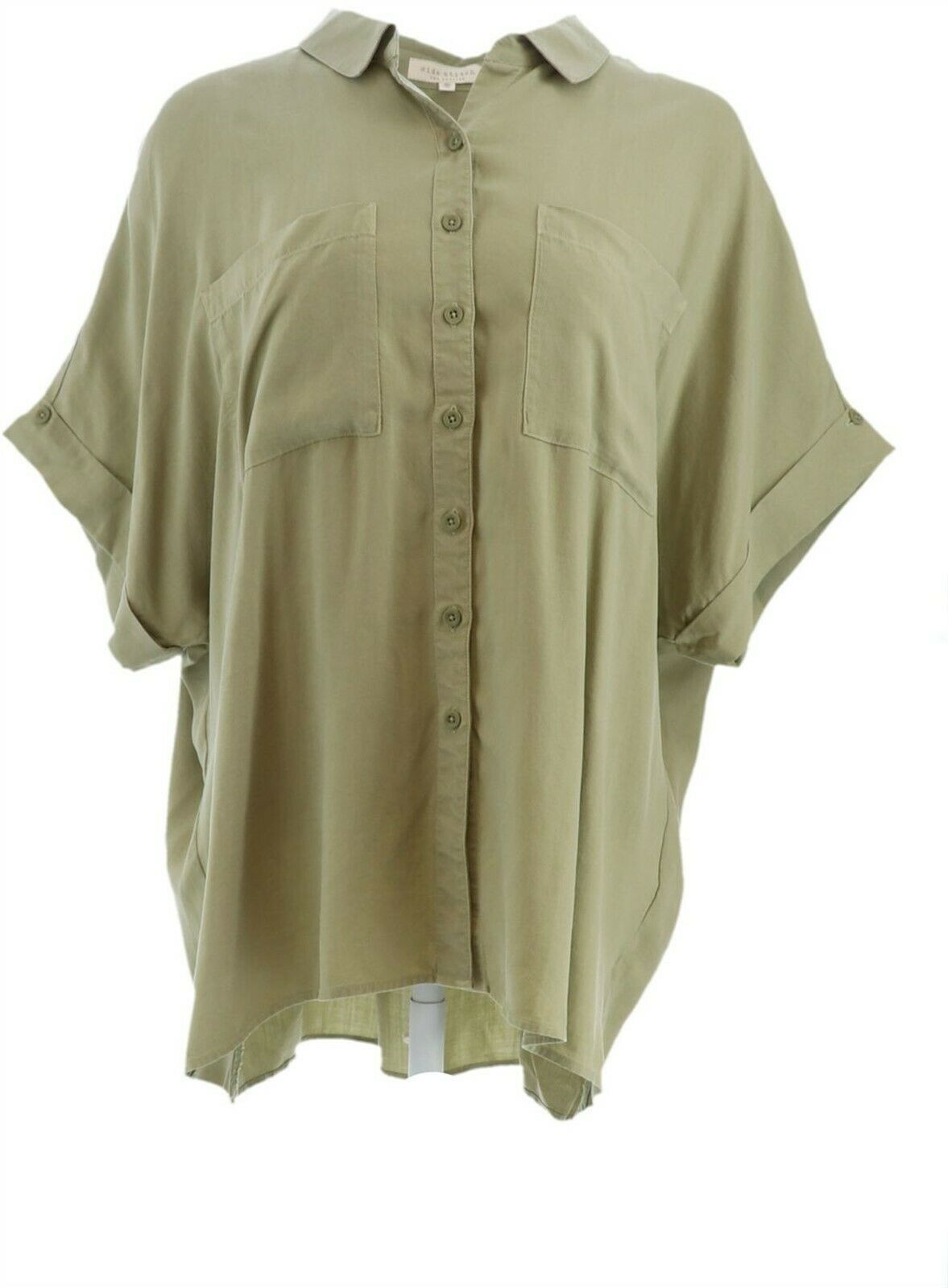 Primary image for Side Stitch Tencera Button Front Short-Sleeve Top Lilypad 1X NEW A350095