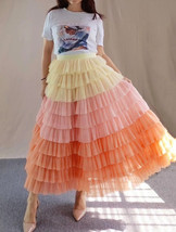 Yellow Pink Layered Tulle Skirt Tiered Tulle Party Outfit Plus Size Party Skirt  image 7