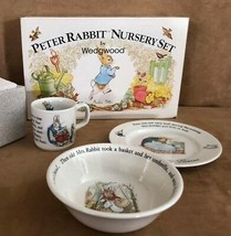 Peter Rabbit Nursery 3 pc Feeding set porcelain child cup bowl NIB vintage  - $59.50