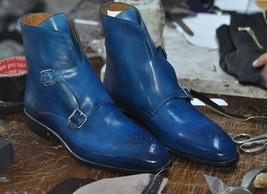 New Handmade Blue Leather Ankle High Boots, Men's Stylish Double Monk St... - $159.99+