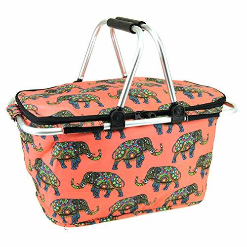 scarlettsbags Boho Elephant Metal Frame Insulated Market Tote Coral