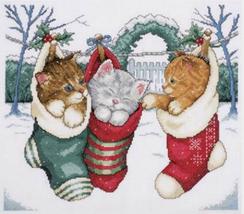 Design Works Cozy Kittens counted Cross Stitch Kit, Christmas Winter, aida, XMAS - $21.99
