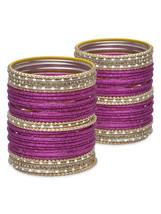 Lacquer Glass Wedding Bangles for women Dark Pi... - $42.00