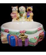 Christmas Carolers Designer Cat Kitty Dish Bowl Holiday Decor Ceramic - $29.95