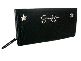 Jessica Simpson Logo Large Wallet Purse Hand Bag Black Zip Around & Snap NWT - $39.59