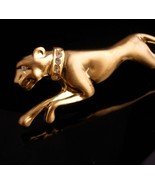 BIG Cat brooch / gold Jaguar / leopard pin /  rhinestone lapel pin / wom... - $75.00
