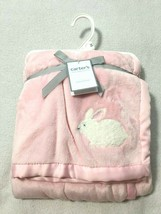 NWT Carters Pink White Bunny Rabbit Baby Blanket Little Basics Cozy Soft - $28.99